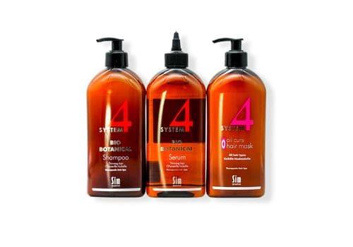 Sim Sensitive System 4 - Комплекс от выпадения волос, (шампунь 500 мл + маска 500 мл + сыворотка 500 мл), фото 1