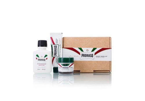 PRORASO Дорожный набор для бритья (Крем до бритья освежающий 15 мл, Крем для бритья освежающий 10 мл, мини-помазок, Бальзам после бритья для чувствительной кожи  25 мл), фото 1