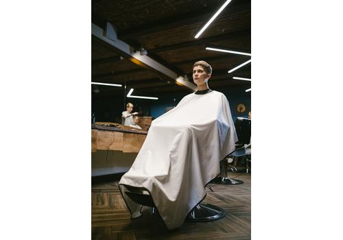 "Rebel Barber ""Crystal White"" - Пеньюар с неопреновым воротником, фото 3"